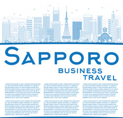 Outline Sapporo Skyline with Blue Buildings and Copy Space.