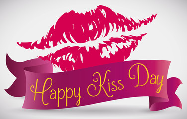 Lips Print with a Ribbon around it Commemorating Kiss Day, Vector Illustration