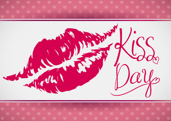 Kiss Day Banner with a Sexy Lips Mark, Vector Illustration
