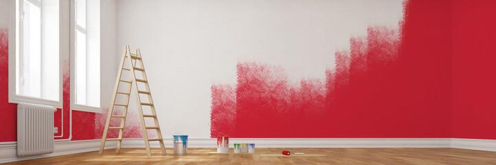 Rote Wand bei Renovierung im Raum