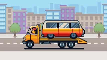Tow truck and city background pixel art game style layer illustration