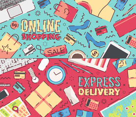 Vector business online shopping delivery service