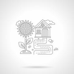 Sunflower detail line icon