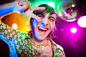 dancing funny vintage man have fun at club