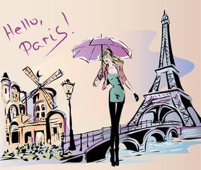 Fashion girl rainy day in Paris