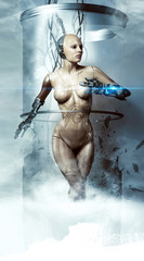 Robot woman. Cyborg. Future technologies.