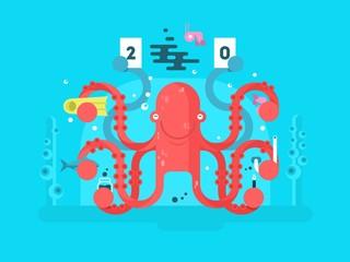 Octopus character design flat