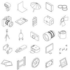 Photo studio equipment icons set