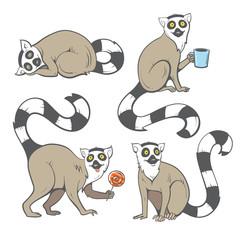 Cute cartoon ring tailed lemurs set. Funny four madagascar cats. Vector image. Children's illustration.