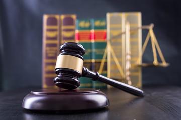 Wooden Judges gavel ,golden scales justice