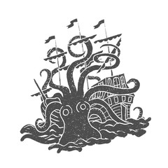 Octopus with boat. Vintage. Rubber stamp. Vector illustration in doodle style.