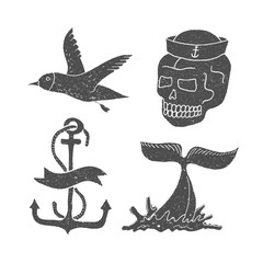 Marine themes & tattoo. Ocean. Whale. Skull. Anchor. Gull. Vector illustration in doodle style.