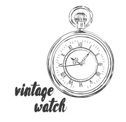 Vintage clock vector. Pocket watch. Hipster.