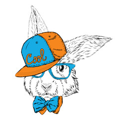 Rabbit vector. Rabbit in a cap and a tie. Rabbit clothing. Honey Bunny. Hipster. Card with animals.