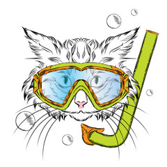 Cat wearing a mask for diving. Hipster. Leisure at sea. Vacation. Swimmer.