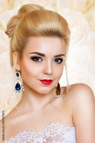 U0026quot;Beauty Portrait Blonde With Beautiful Hair And Make-up Holiday. Wedding Image.Jewelleryu0026quot; Stock ...