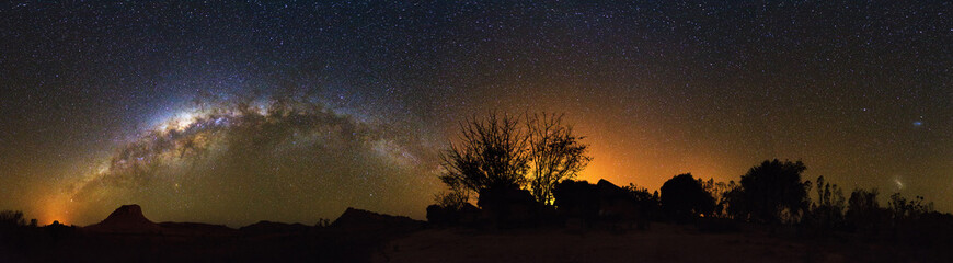 Extraordinary 360 degree nightscape panorama with the milky way seen from Isalo, Madagascar