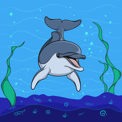 Dolphin background underwater seabed. Vector illustration.