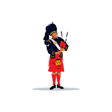 Scottish bagpiper. Vector Illustration.