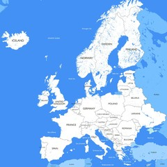 Detailed white Europe map | Vector a large color map of Europe