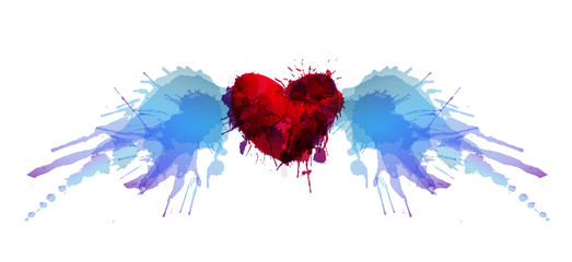 Heart with wings made of colorful grunge splashes
