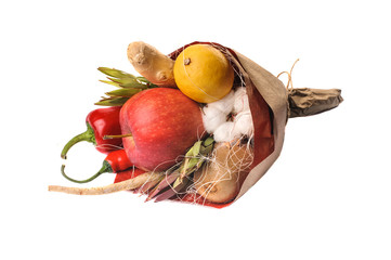 The original unusual edible vegetable and fruit bouquet isolated