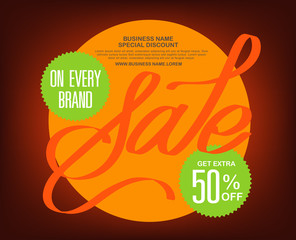 Sale typography background . Vector illustration