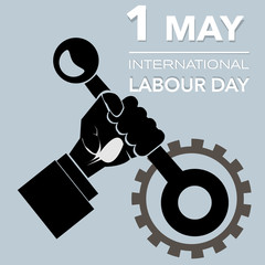Outline Hand with lever international labour day vector illustra