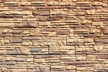 Texture of Rectangle brown stone wall