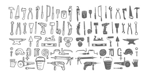 Construction tool collection. Doodles. Isolated.