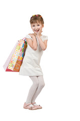 girl with packages from shop
