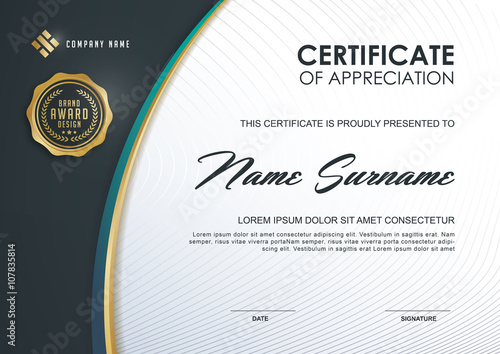 Certificate Template With Luxury And Modern PatternQualification