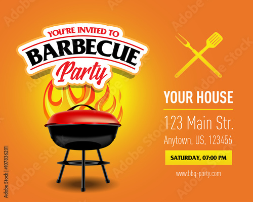 """Barbecue party design, Barbecue invitation. Barbecue logo. BBQ template menu design. Barbecue ..."
