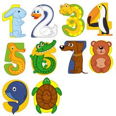 animals like numbers - vector illustration, eps