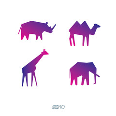 Rhino, giraffe, elephant and camel vector logo