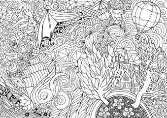 Coloring with a fabulous kingdom in abstract pattern