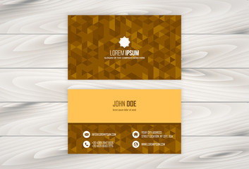 Geometric business card design with wooden background. Easy to edit, manipulate, re-size or colorize.