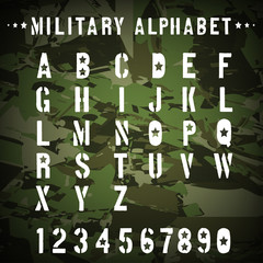 Military stencil alphabet on camouflage background, illustration