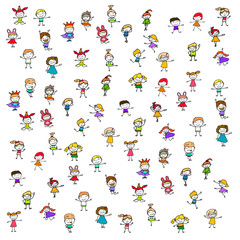 Hand drawing cartoon happy kids pattern