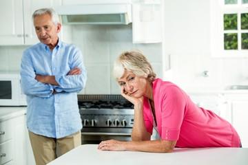 Upset senior couple after argument