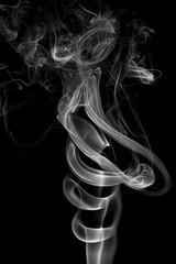 White smoke, isolated on black background.