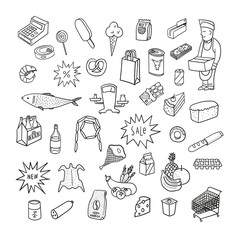 Hand drawn collection of supermarket symbols. Food, drinks, bake