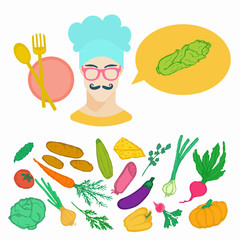 Vegetables doodle vector set with head of cook and speech balloon.