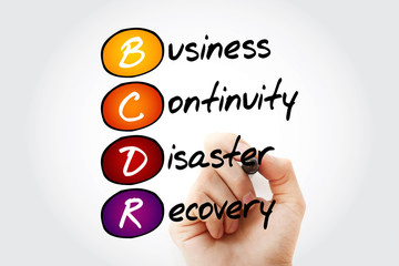 Hand writing BCDR - Business Continuity Disaster Recovery with marker, acronym business concept