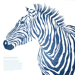 Animal illustration of jeans zebra silhouette.