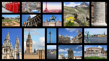 Europe photos - travel collage