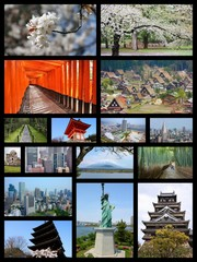 Japan landmarks - travel collage