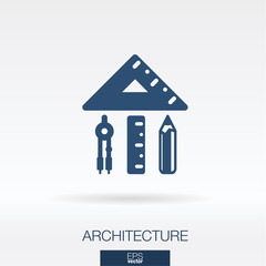 Architecture and construction concept icon. Home shape formed from ruler, triangle, compasses and pencil symbols. Vector illustration