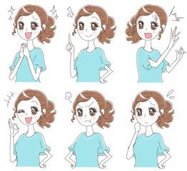 少女漫画風の女性のイラスト(セット)