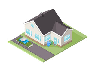Vector Isometric House illustration with family car. Domestic home with garden and family transport.